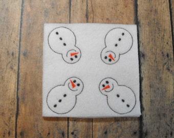Snowman felties, Christmas feltie, machine embroidered, felt applique, felt embellishment, hairbow center, hair bow supplies