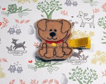 Tan Puppy Dog Felt hair clips, Feltie Hair Clip, felt hair bow, felt hair clip, party favor, Easter Basket Filler, Stocking Stuffer