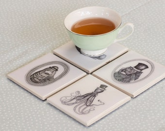 Set of 4 Gentleman Animals Coasters