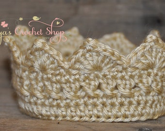 Gold Baby Crochet Crown,  Baby Accessories, Newborn Size, Infant Girl/Boy crown , princess/prince toddlers