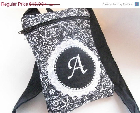Christmas In July Sale Women's Small Clutch Bag Passport Purse Quilted Monogrammed Custom Personalized black and white