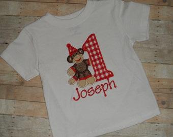 Sock Monkey Shirt Boys Custom Applique Birthday Shirt 12 18 24 months 2T 3T 4T 5T