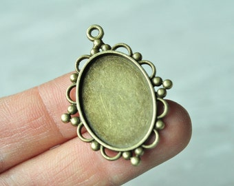10pcs Antique Bronze Oval Cameo Cabochon Base Settings with Flower Edge Match 25x18mm PP320