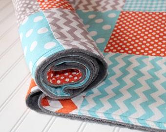Baby Patchwork Quilt - Baby Quilt, Minky Baby Blanket, Chevron Quilt - Minky Quilt - Baby Blanket - Aqua, Gray, Orange - Dots