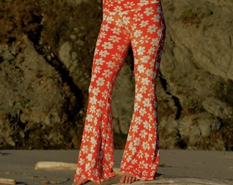 FLOWER POWER RETRO daisy orange 70's velour hippie chic boho dance yoga festival burning man gypsy flare bell bottom pants (or leggings)