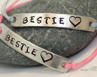 BESTIE Bracelets.. Custom.. Hand Stamped.. Set of two bracelet.. Personalized / Custom bracelets..