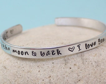 I love you to the moon and back - Personalized Aluminum Bangle Bracelet - Hand Stamped - Hammered
