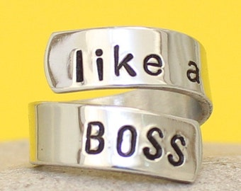 Like a Boss - Personalized Wrapped Ring - Silver Ring - Hand Stamped Ring