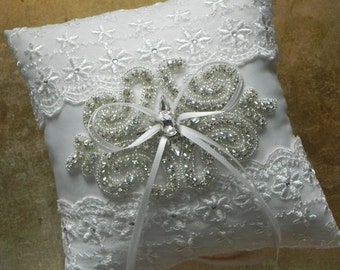 Rhinestone and Lace Ring Bearer Pillow -Ivory and Silver Pillow