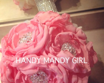 Pink peony -Gorgeous Fabric Peony Brooch Bouquet