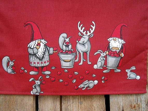 Scandinavian Christmas Towel Christmas Tea Towel Christmas Deer Tea Towel Tomte Hand Kitchen Towel Christmas Ornament Christmas Gift