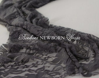 Newborn Wrap Baby Wrap Newborn Newborn Photo Prop Wrap Photography Newborn Wraps Lace Charcoal GRAY Newborn Photography Wrap Stretch Wrap