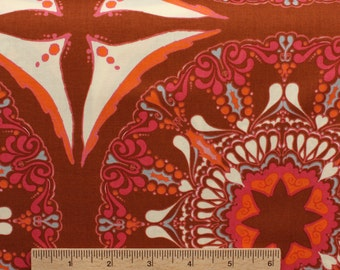 Tina Givens fabric Lilliput Fields Suzani Mod TG103 Chocolate brown orange cream Sewing Quilting fabric cotton by the yard Free Spirit