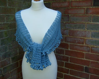 Pretty Crochet Cotton Scarf /Wrap