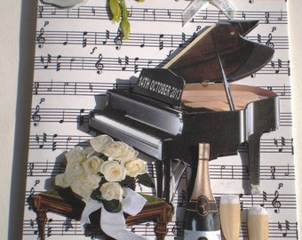 Handmade Silver Wedding Anniversary Personalised Card, Piano and Flowers,Decoupage,3D