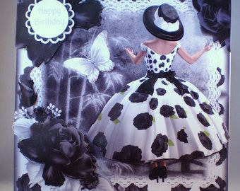 Decoupage,3D,large birthday card,elegant lady,black and white