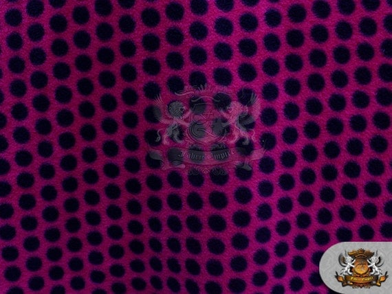 Fleece printed fabric disco polka dots black fuchsia for Spaceship fleece fabric