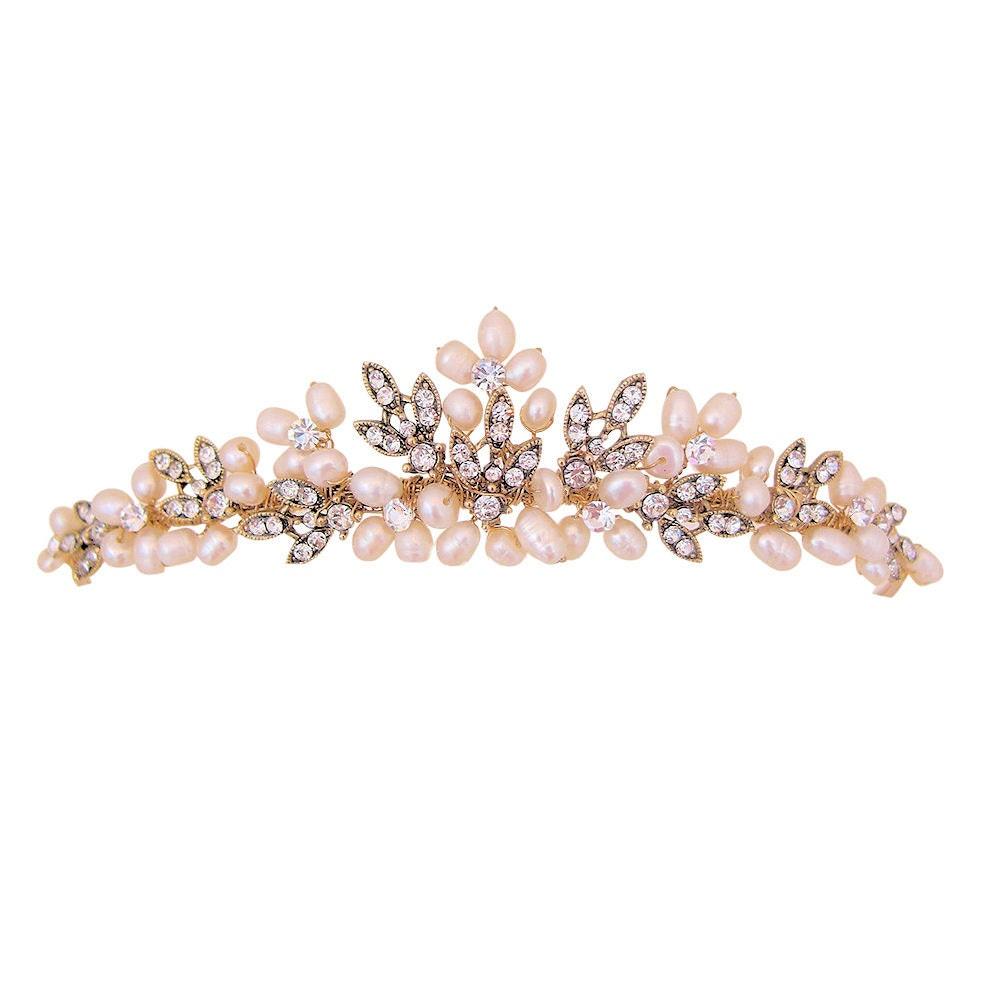Elegant Bridal Set Heavy Gold Plated Diamante Crystal: Antique Gold Ivory Freshwater Pearl & Diamante Wedding Tiara