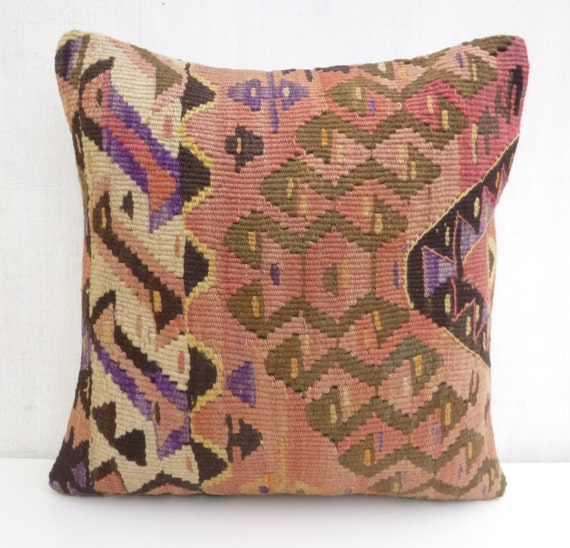 Decorative Throw Pillow Turkish Dusty Pink Kilim by SophiesBazaar