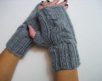 fingerless gloves, Cable Knitted Fingerless Gloves, Mitts, Gray Mittens, Wrist warmers, winter accessory, handmade half gloves, woman gloves