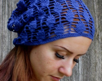 Crochet Summer Hat, Blue color,Hand Crochet Hat Womens Hat - slouchy Hat , sun hat, women hat