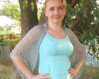 Knitted shrug. Bolero. Summer blue shrug.