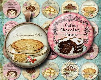 Patisserie Circles - 1,5 inch circles, Digital Collage Sheet, Cupcake, Bottle cap Images, Digital Stamp, Glass Pendant, Magnet, Button