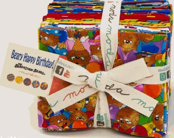 Beary Happy Birthday Fat Quarter Bundle - 22 Pieces Cotton Quilt Fabric - from The Berenstain Bears for Moda (W1143)