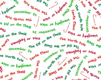 One Yard More Elf on the Shelf - Word Toss in White - Cotton Quilt Fabric - from Quilting Treasures (W1982)