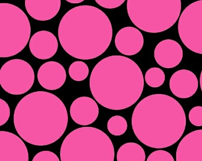 """22"""" REMNANT .Com or Dot Com - Mono Circus Dot in Pink - Polka Dot Cotton Quilt Fabric - by Whistler Studios for Windham Fabrics (W1234)"""