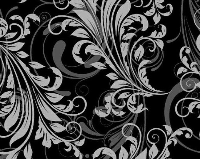 One Yard Swirl Basics - Leafy Swirl in Black - Cotton Quilt Fabric - by Whistler Studios for Windham Fabrics (W1285)