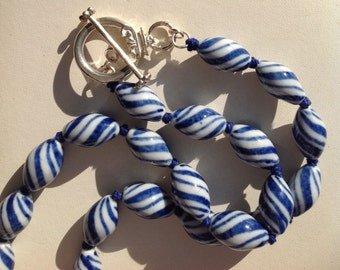 Nautical Blue and White Striped Porcelain Bead Necklace
