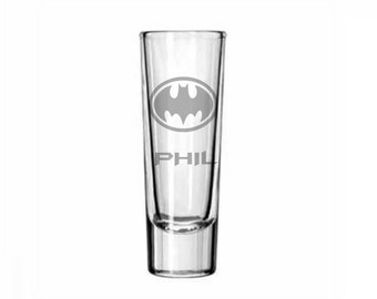 Batman Shot Glass, Etched Batman Glass, Custom Shot Glass, Batsignal, Batman Beyond