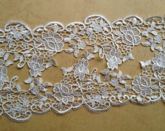 Venice Ivory Lace Trim Wedding Roses Lace Trim Aulic Retro Embroidered Lace 5.12 Inches Wide 2 Yards
