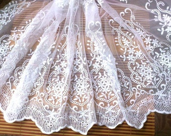 Retro White Lace Trim, Embroidered Mesh Lace, Vintage Wedding Lace, Bridal Lace Fabric