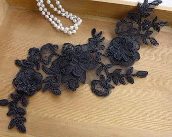 Black Lace Applique, Layer flower, Black Flower Appliques, Wedding Bridal Dress Applique Trim Craft