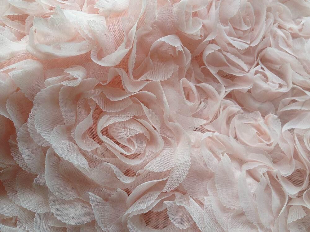 Pink Fabric Light Pink Chiffon Fabric Pink Shabby Rosette