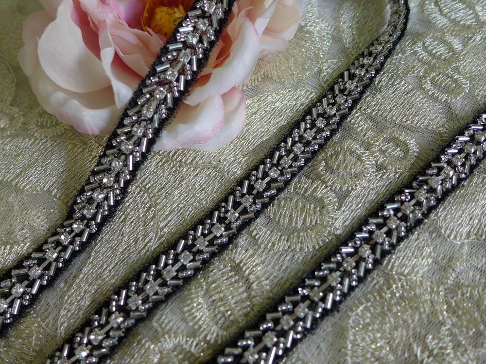 Beaded Trim Rhinestone Applique Black Mesh Lace Silver