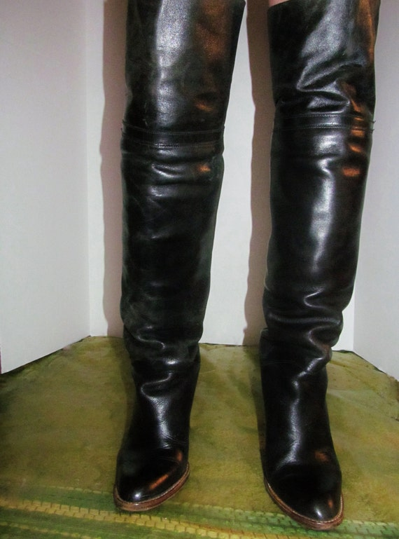 vintage 70 s black leather thigh high boots sz 8