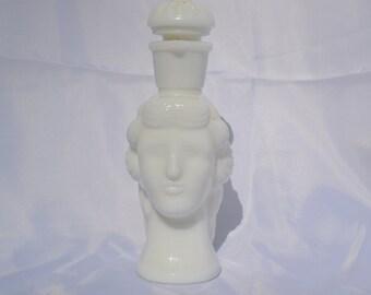 Vintage Avon Grecian Milk Glass Bath Oil Bottle
