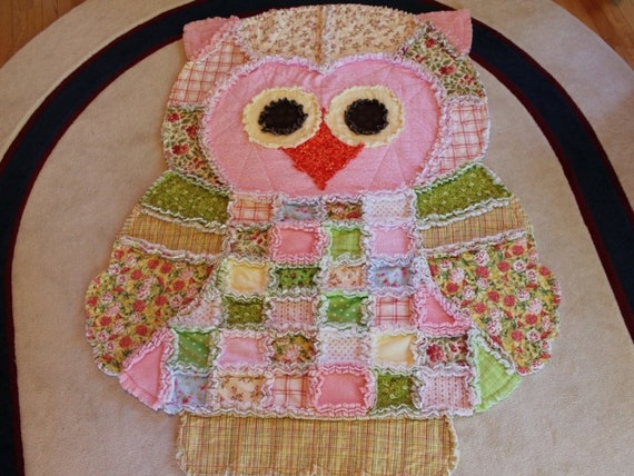 Rag Quilt Owl Pattern : Items similar to Handmade Quilt - Rag Quilt - Owl Rag Quilt on Etsy