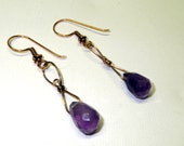 Hand Formed Wire Wrapped Copper Dangle Earrings with Faceted Purple Amethyst Drops for February Birthdays