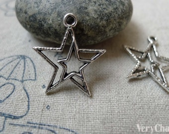 20 pcs of Tibetan Silver Antique Silver Double Star Charms 21x23mm  A6333