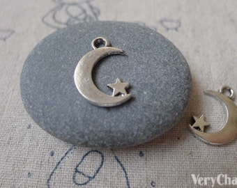 20 pcs Antique Silver Crescent Moon Star Charms 11x17mm A7054