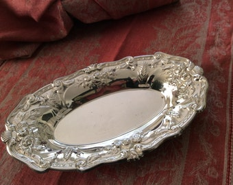 Silver Tray Chippendale Wheat and Shell Pattern Silverplate