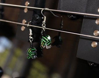 dainty dangly black and green upcycled earrings