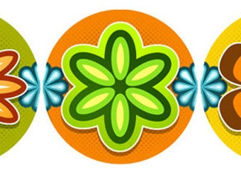 Mod Flower 70s Style Wall Decals Set #40753