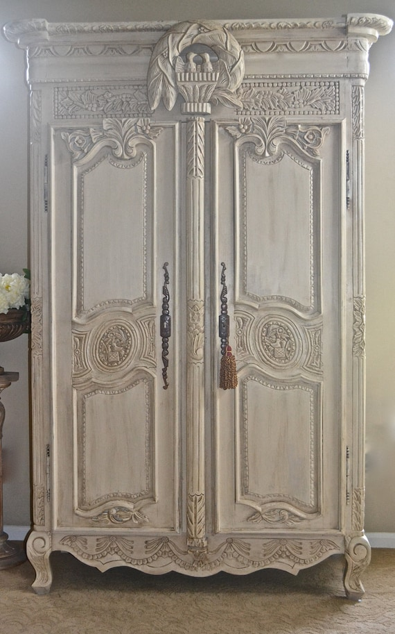 sold antique shabby chic french armoire by theyardleycottage. Black Bedroom Furniture Sets. Home Design Ideas