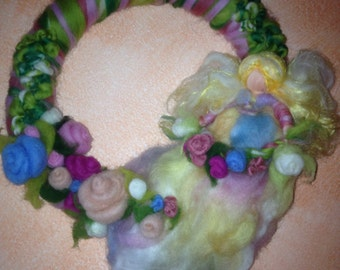 wreath in fairy wool with roses' fairy