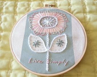 Floral Embroidery Hoop Art SALE